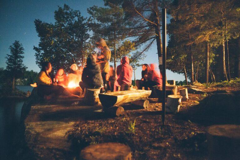 Unge mennesker hygger sig om et bål i en skov